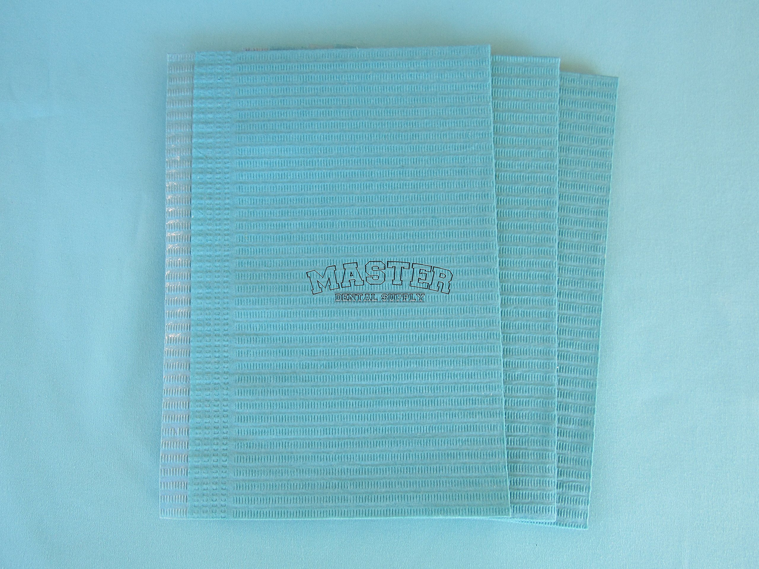 Disposable Patient Bibs Dental Tissue TattooTowels 500 Pcs/Case BLUE Color 3 + 1 Ply Poly Waterproof 13'' X 18''