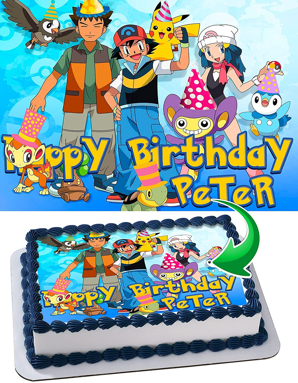 Pokemon Personalized Cake Toppers Icing Sugar Paper A4 Sheet Edible