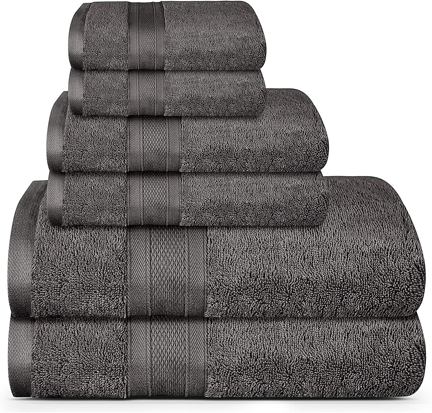 TRIDENT Soft and Plush, 100% Cotton, Highly Absorbent, Bathroom Towels, Super Soft, 6 Piece Towel Set (2 Bath Towels, 2 Hand Towels, 2 Washcloths), 500 GSM, Charcoal