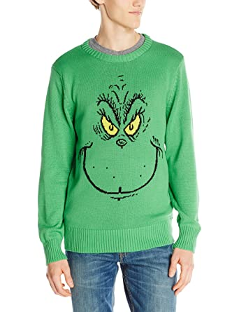 dr seuss mens grinch face ugly christmas sweater at amazon mens clothing store - Grinch Ugly Christmas Sweater