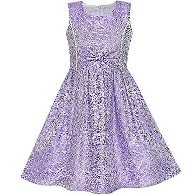 8b607d9ddf LS11 Girls Dress Purple Bow Tie Jacquard Fit and Flare Princess Size 5