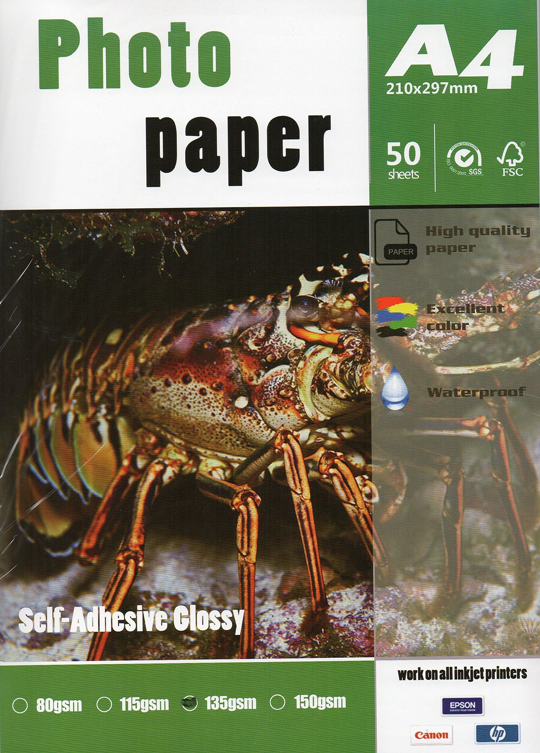 Self Adhesive Sticker Inkjet Photo Paper 8.3''x11.6'' A4 Size 50 Sheets 135gsm