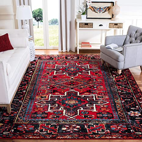 Amazon Com Safavieh Vintage Hamadan Collection Vth211a Oriental Traditional Persian Area Rug 8 X 10 Red Multi Furniture Decor