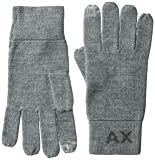 Armani Exchange Men's Knit Logo Gloves, medium grey heather, Large/Xlarge