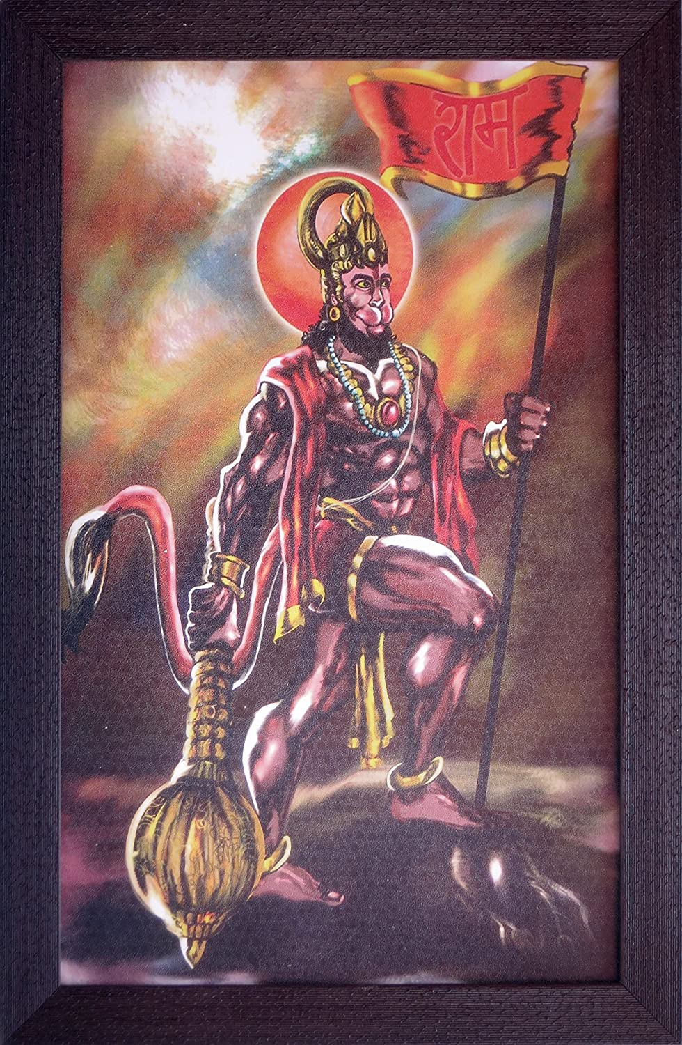 A Hindu Religious Poster for Home//Offices and Indian Religious and Gift Purpose 198-35 Handicraft Store Lord Hanuman Standing on Rock Holding Flag with Ram and Holding his Weapon
