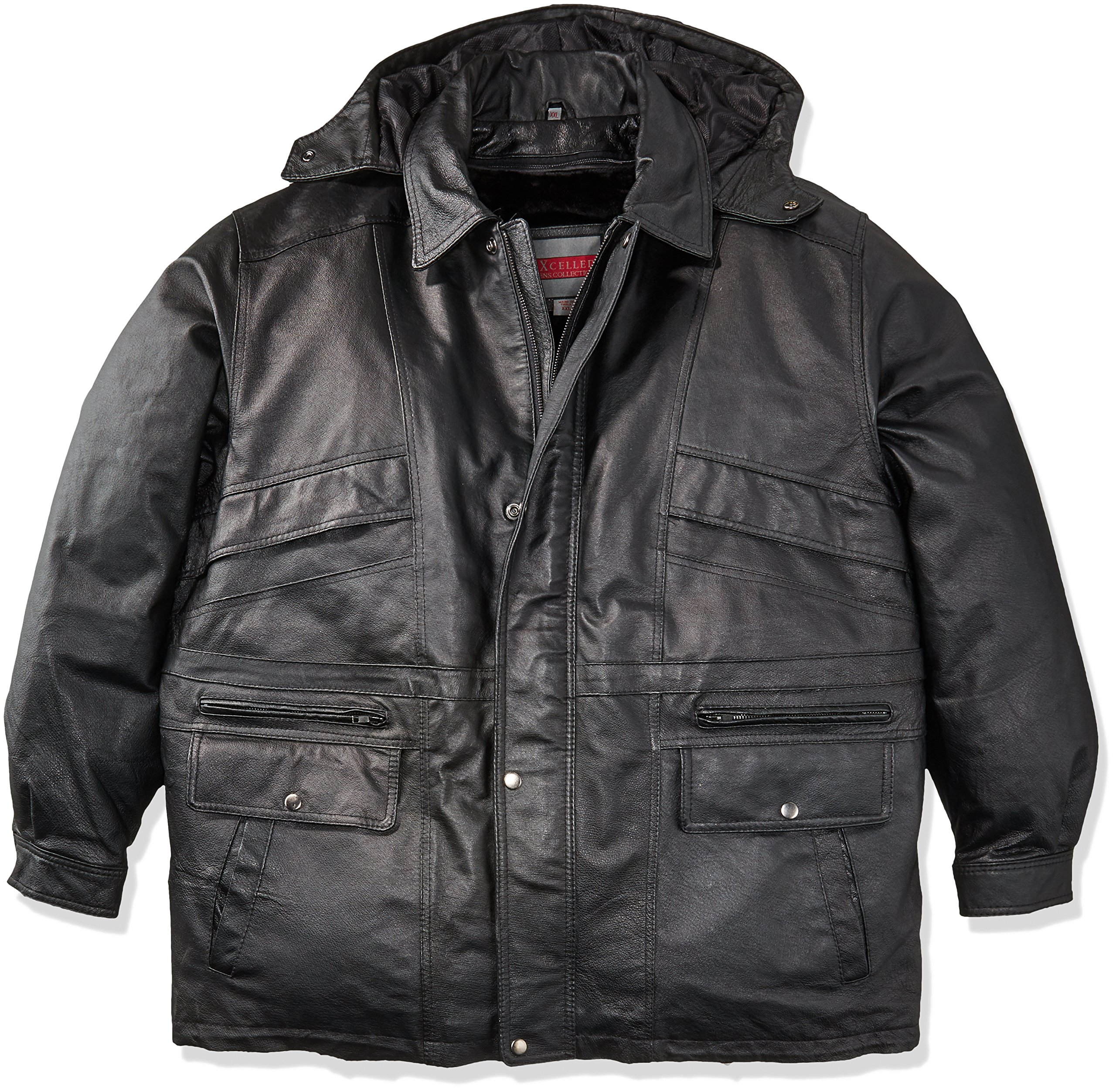 Excelled Men's Big and Tall Lambskin Parka, Black, 4X