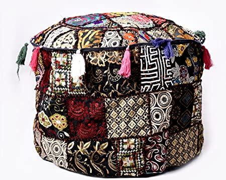 Black Ethnic Decorative Pillow Cover Pouf Ottoman Pouffe Poof Cover Patchwork Khambadiya Embroidery Round Pouf Foot Stool Cover 22