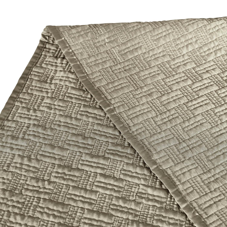 Brielle Basket Weave Quilt Set Grey Full//Queen