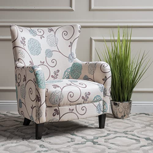 Christopher Knight Home 300040 Arabella Arm Chair, White Blue Floral