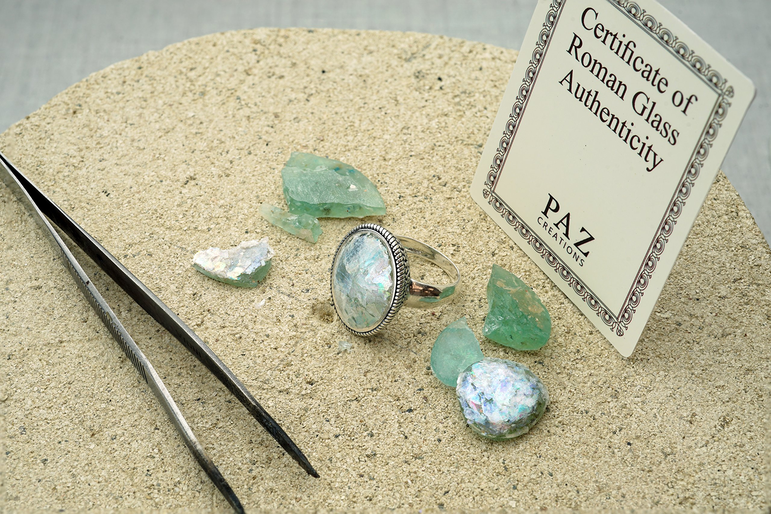 Paz Creations ♥925 Sterling Silver Bold Oval Roman Glass Ring (6), Made in Israel by PZ (Image #4)