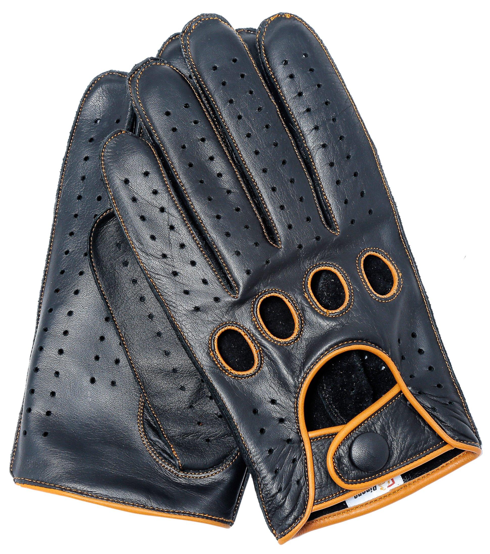 Riparo Genuine Leather Reverse Stitched Full-Finger Driving Gloves (Medium, Black/Cognac Thread)