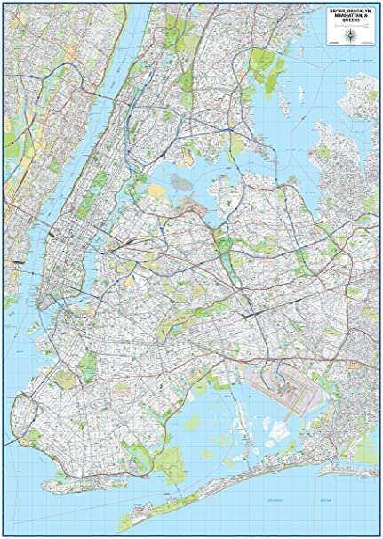 Amazon.com : New York City Laminated Wall Map : Office Products on