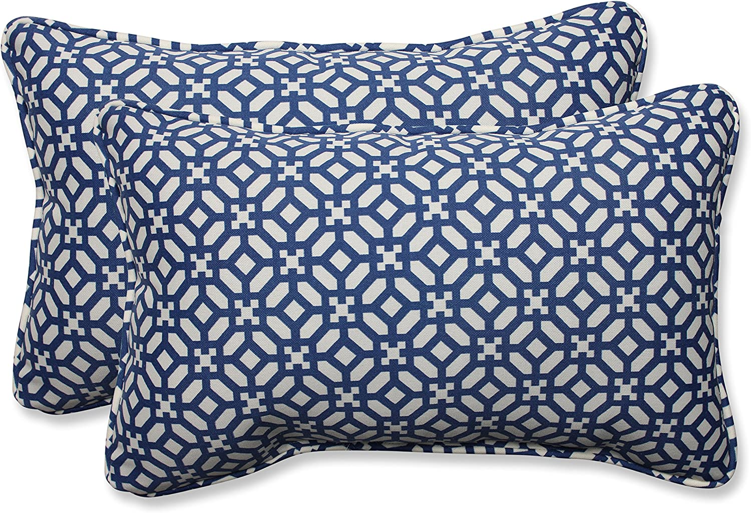 Pillow Perfect Outdoor Indoor Lumbar Pillows 11 5 X 18 5 In The Frame Pebble Sapphire 2 Pack Home Kitchen