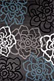 Contemporary Modern Floral Flowers Gray Area Rug