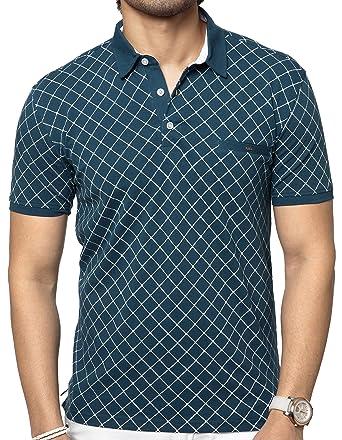 64d3d2a742470b ZEYO Men's Cotton Printed Polo Half Sleeves T-shirt (Green, Small-38 ...