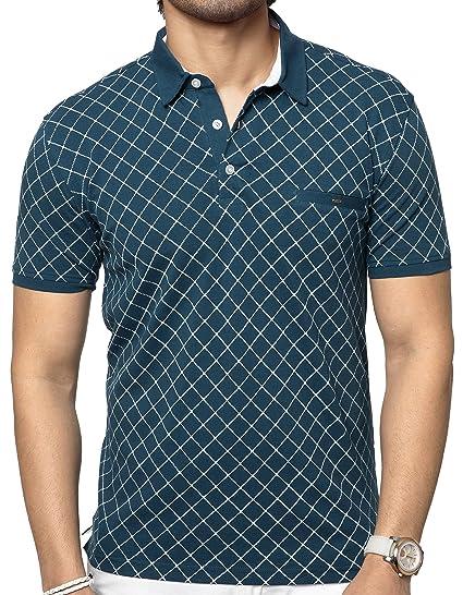 7245ce24f ZEYO Men s Cotton Printed Polo Half Sleeve T-shirt (Small 38 ...