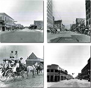 Vintage Las Vegas Stage Coach, The Nevada Hotel, 1915 Majestic Post Office, Overland Hotel 1930 Motor Car Old City Set Four 16x20 Black And White Wall Decor Art Print Poster