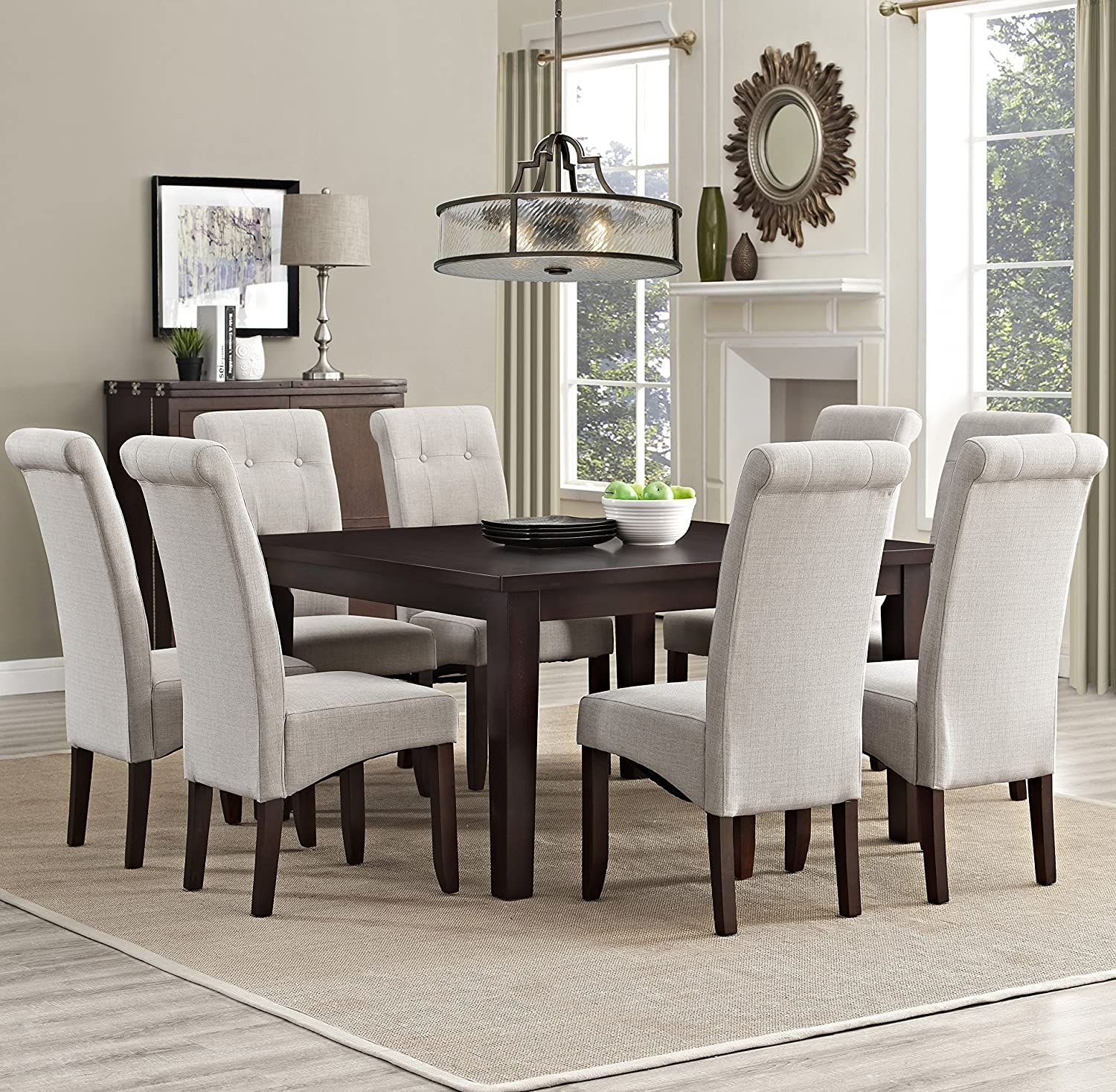 Amazon.com: Simpli Home Cosmopolitan 9 Piece Dining Set, Natrual: Kitchen U0026  Dining