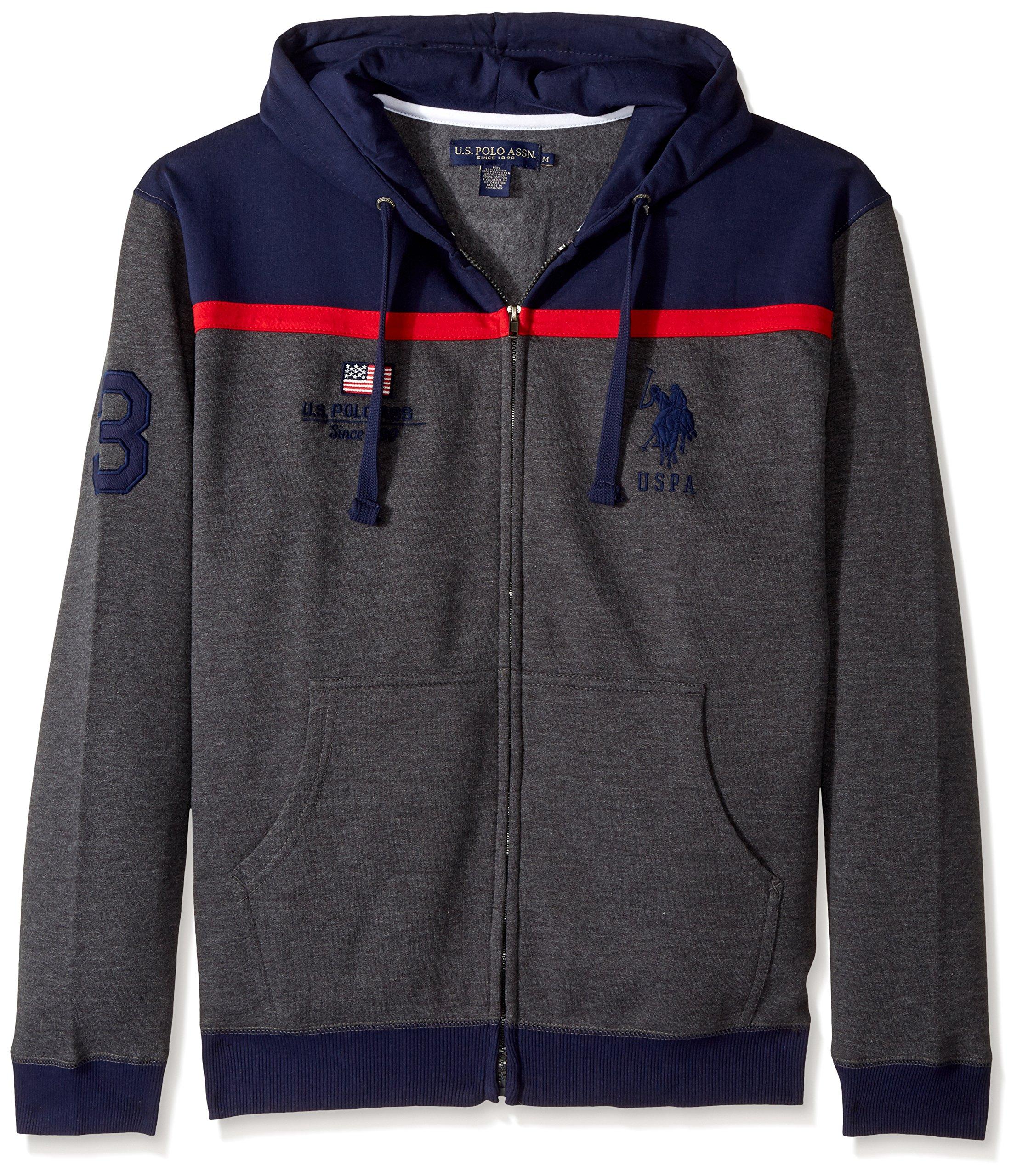 U.S. Polo Assn. Men's Color Block Fleece Hooded Jacket, 3339-Dark Heather Grey, L