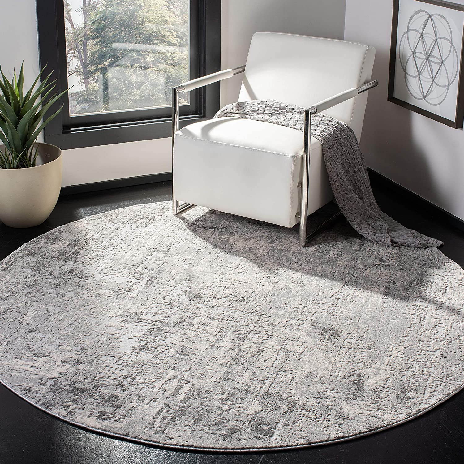 Safavieh Invista Collection Inv413g Modern Abstract Area Rug 6 7 X 6 7 Round Grey Ivory Furniture Decor
