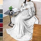 terrania wearable fleece blanket with sleeves and pocket for women men super soft. Black Bedroom Furniture Sets. Home Design Ideas
