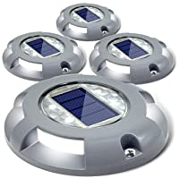Deals on 4 Pack Siedinlar Solar Deck Lights Driveway Dock LED Light