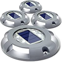 Siedinlar Solar Deck Lights Driveway Dock LED Light Solar Powered Outdoor Waterproof Road Markers for Step Sidewalk…