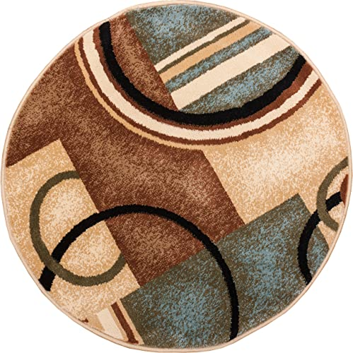 Well Woven Barclay Arcs Shapes Modern Rug, 7 10 Round, Light Blue