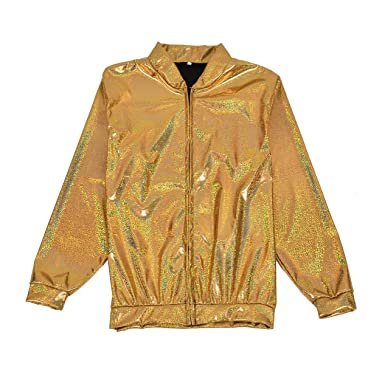 a0ae2c182e1 BFD One Men Women Metallic Shiny Silver Gold Lightweight Slim fit Bomber  Jacket  Amazon.co.uk  Clothing