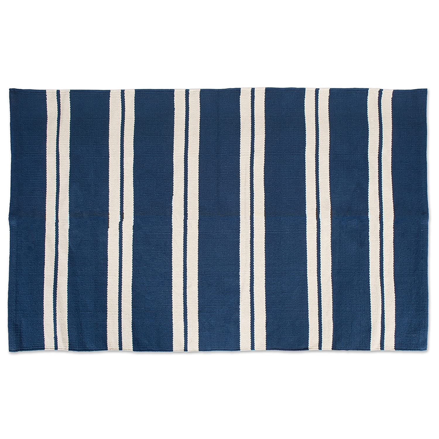 "J&M Home Fashions Cotton Fashion Reversible Indoor/Outdoor Cabana Stripe Woven Area Rag Rug, 30x48"", Unique For Bedroom, Living Room, Kitchen, Laundry, Wash Room, Nursery-Navy Blue"