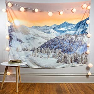Jamefy Mountain Tapestry Forest Tapestry Large Wall Hanging Nature Tapestry Hippie Big Pine Tree Tapestry Landscape for Dorm Bedroom Living Room Apartment Decor (80x60 Inches)