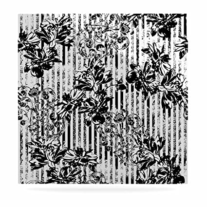 Kess inhouse victoria krupp stripes and flowers black white digital luxe square panel 8