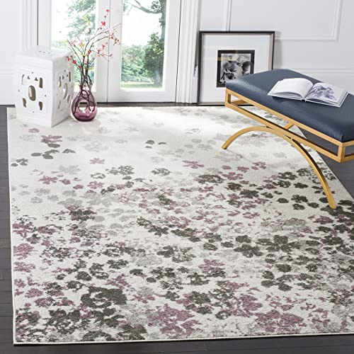 Safavieh Adirondack Collection ADR115L Ivory and Purple Contemporary Floral Area Rug 8 x 10