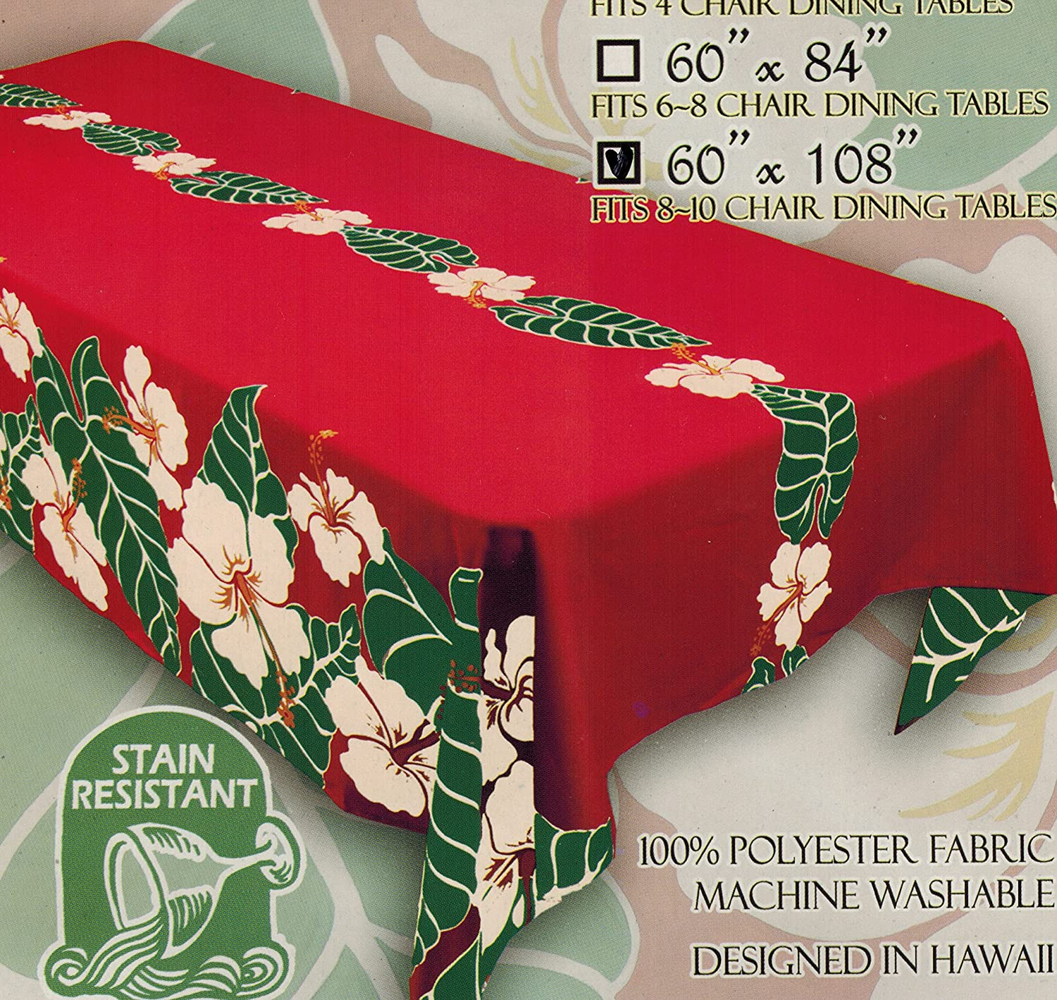 Amazon Com Kauhale Living Hawaiian Fabric Tablecloth 60 Inch By 108 Inch Christmas Holiday Home Kitchen