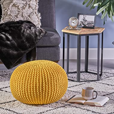Belle Knitted Cotton Pouf, Yellow