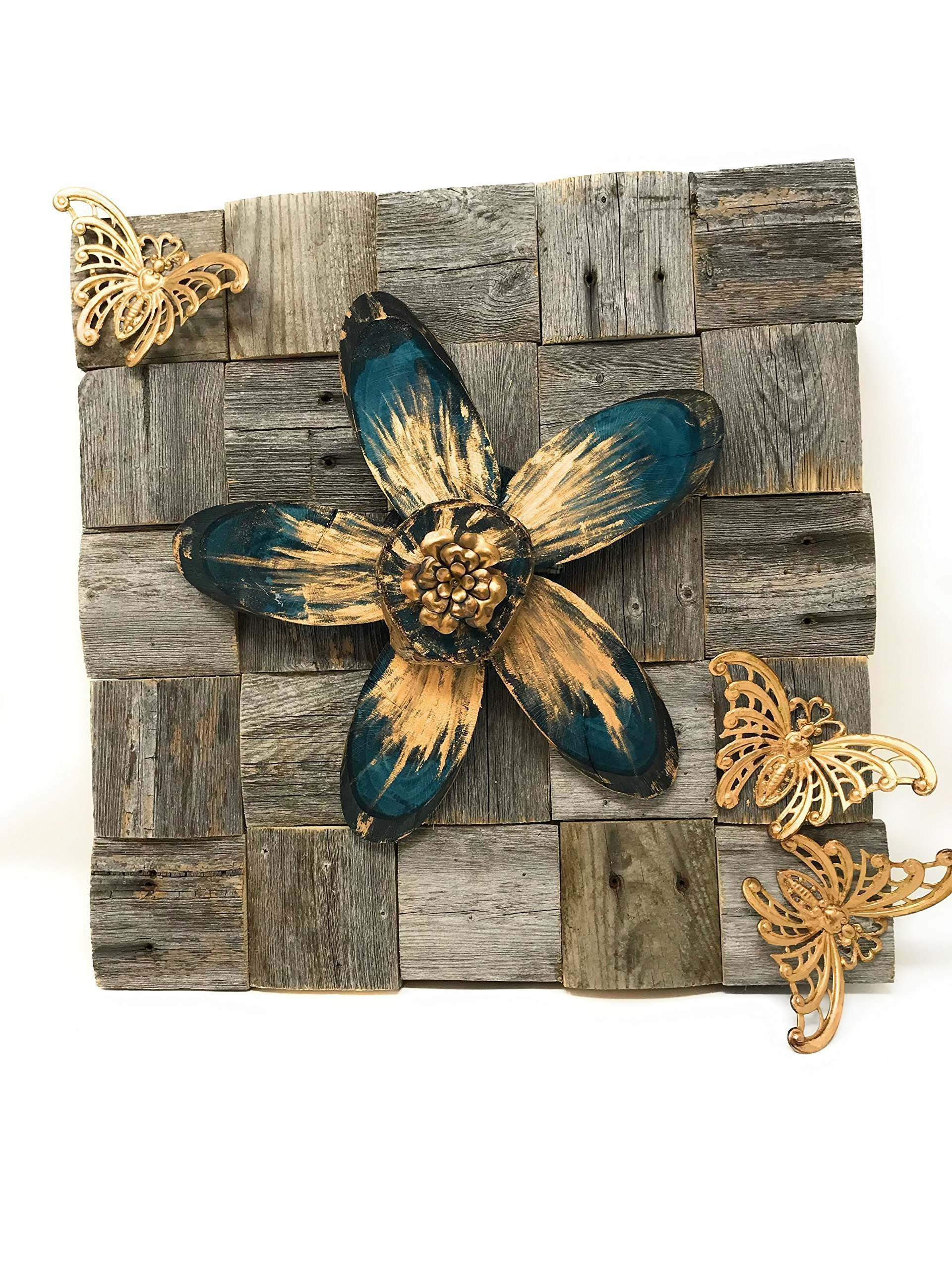 12 x 12 x 2.25'' Handmade Wooden Wall Hanging On Repurposed Fencewood And Decorated With Handpainted Wood Flower And Vintage Brass Butterflies