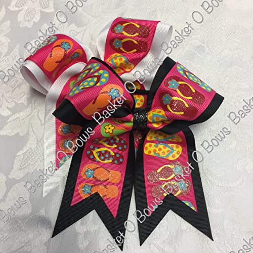446ae4978 Amazon.com  Small Bow ~ SHOCKING PINK with GLITTER FLIP FLOPS Hair Bow ~  2-layer ~ Made to Order  Handmade
