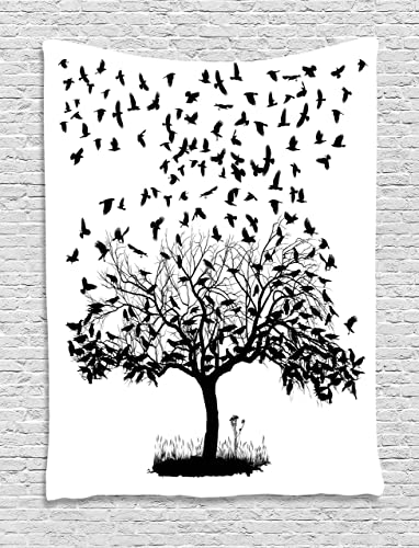Lunarable Birds Tapestry, Flock of Crows Monochrome Illustration of Birds Flying into The Sky from Tree, Wall Hanging for Bedroom Living Room Dorm Decor, 40 X 60 , Black White