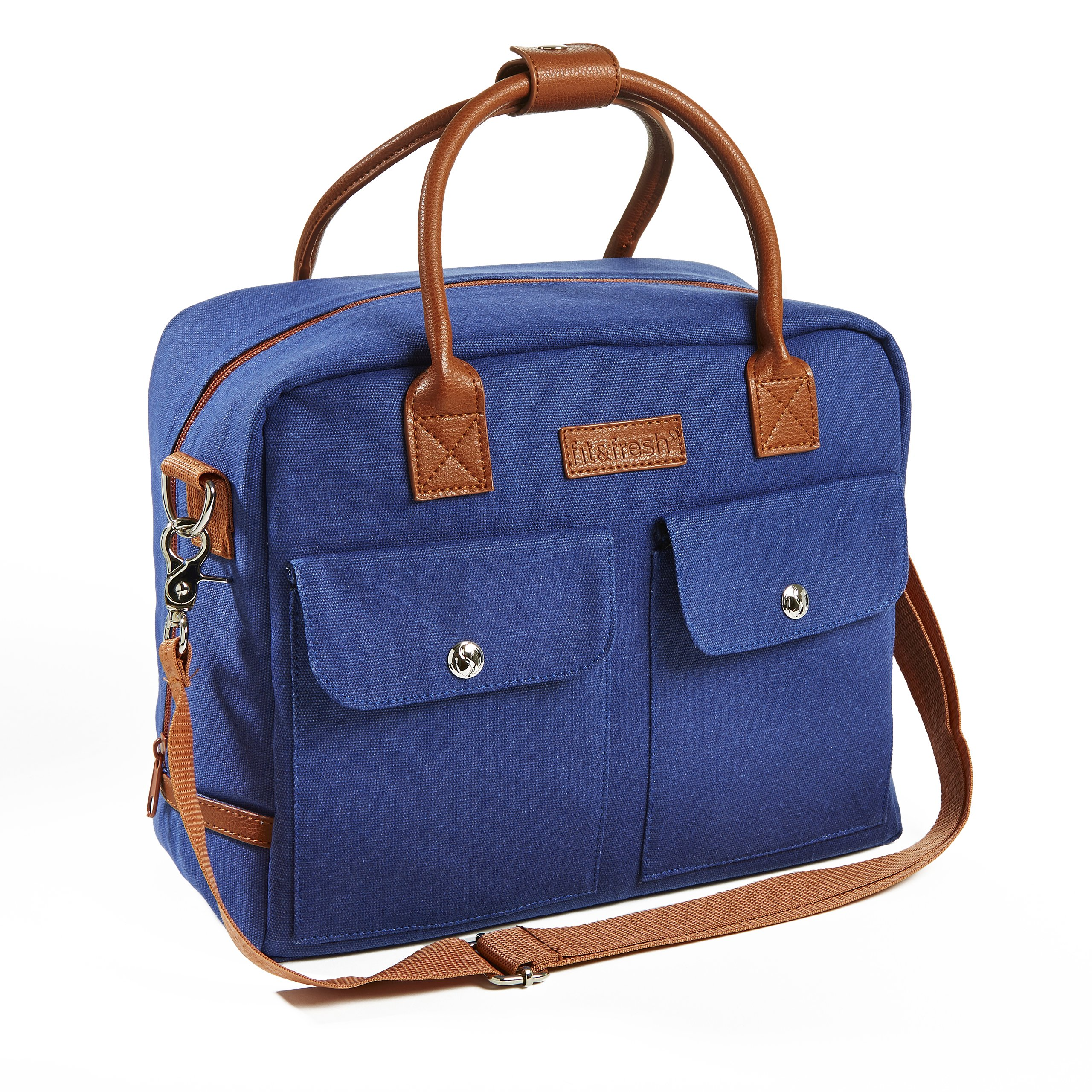 Fit & Fresh Margene Messenger Style Lunch Bag for Women, Insulated Tote for Travel, Work, School, Navy with Brown Trim