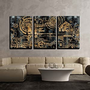 wall26 - 3 Piece Canvas Wall Art - a Technically Electronic Background with Device Objects - Modern Home Art Stretched and Framed Ready to Hang - 16
