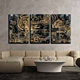 wall26 - 3 Piece Canvas Wall Art - a Technically Electronic Background with Device Objects - Modern Home Art Stretched…