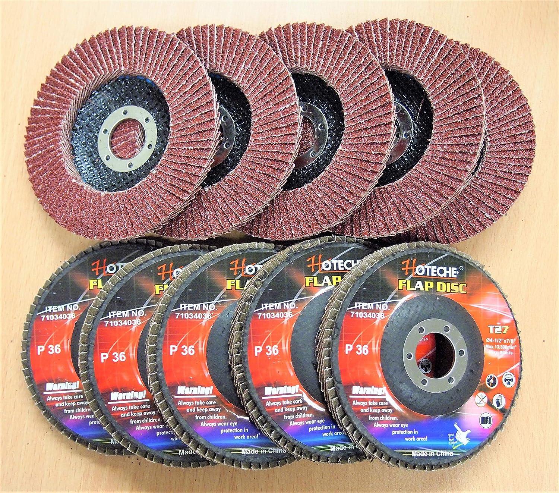 "Lot of (10) Aluminum Oxide Flap Disc Grinding Wheel 4-1/2""x7/8"", 36 Grit"