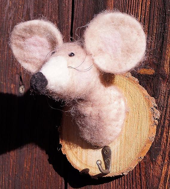Kleiderhaken Filz Maus mit Holzscheibe 14 cm Garderobenhaken Handarbeit