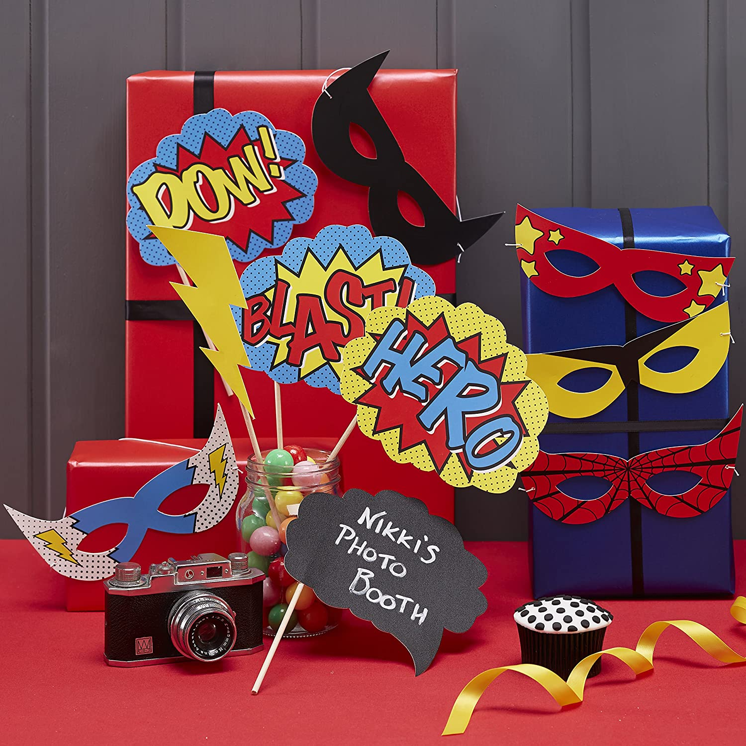 Red//Blue//Yellow 10 Pack Ginger Ray Comic Superhero Kaboom Party Balloons