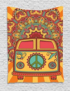 "Ambesonne 70s Party Tapestry, Hippie Vintage Mini Van Ornamental Backdrop with Peace Sign Artwork, Wall Hanging for Bedroom Living Room Dorm Decor, 40"" X 60"", Coral Orange"