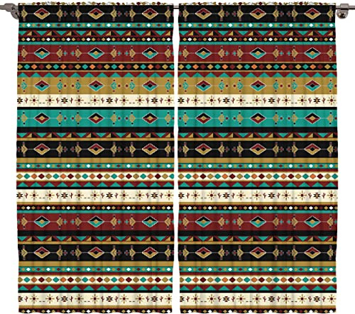 Tribal Ethnic Curtain Panel 2 Panel Set Bedroom Living Dining Room Decorations Haitian Art Decor Silky Satin Window Treatment, Turquoise Brown Mustard Beige Black