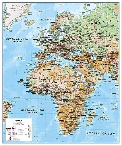 Cartina Europa E Medio Oriente.Mappa Europa Fisica Del Medio Oriente Africa Emea Tutte Le Finiture 39 X 47 Pinboard Amazon It Cancelleria E Prodotti Per Ufficio
