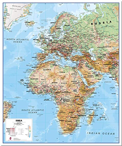 Middle East And Africa Map.Amazon Com Maps International Physical Europe Middle East