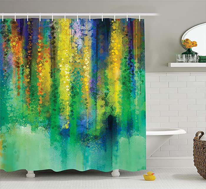 """Ambesonne Watercolor Flower Shower Curtain, Abstract Style Spring Floral Watercolor Style Painting Image Nature Art, Cloth Fabric Bathroom Decor Set with Hooks, 70"""" Long, Teal Yellow"""