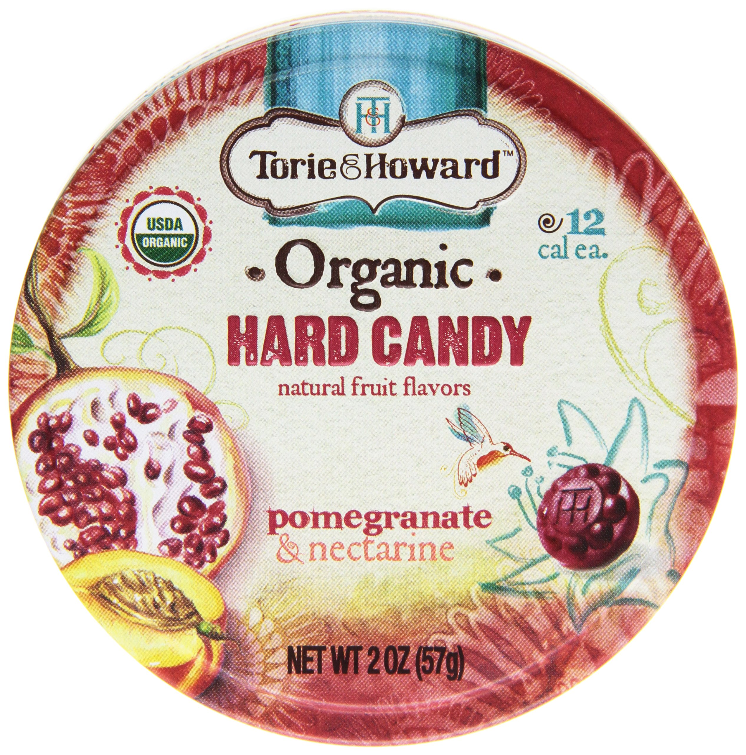 Torie & Howard Natural Fruits Organic Hard Candy, Pomegranate and Nectarine, 2 Ounce